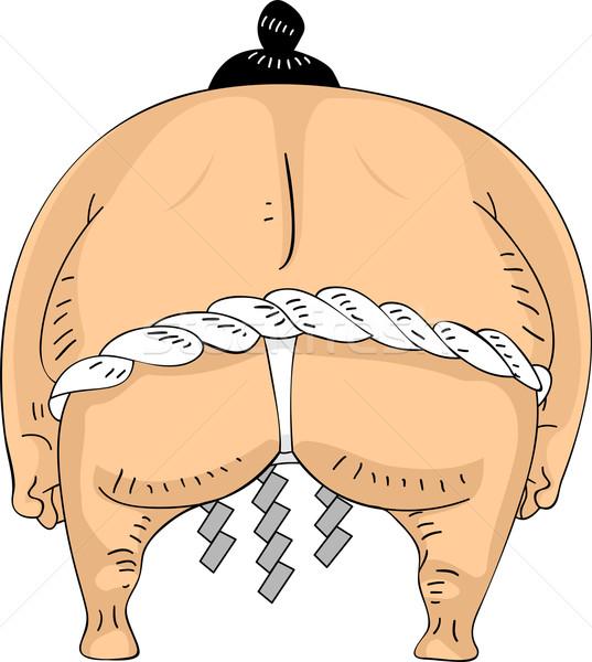 Achteraanzicht sumo worstelaar illustratie man asian Stockfoto © lenm