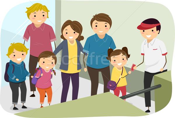 Család vonal jegy bejárat illusztráció családok Stock fotó © lenm