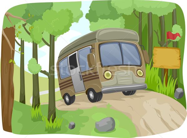 Bus teken onverharde weg illustratie bos Stockfoto © lenm