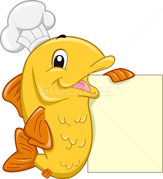 Photo stock: Chef · poissons · mascotte · illustration