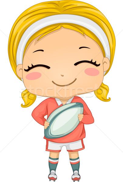 регби девушки иллюстрация Gear спортивных мяча Сток-фото © lenm