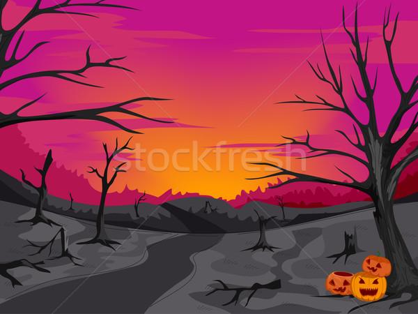 Arrepiante mata caminho ilustração floresta preto Foto stock © lenm