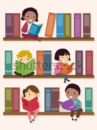 Lecture livres groupuscule enfants fille enfants Photo stock © lenm