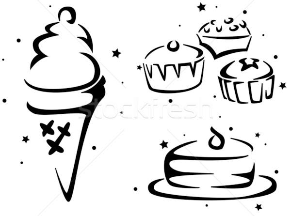 Voedsel stencil gebak ijs zwarte illustratie Stockfoto © lenm