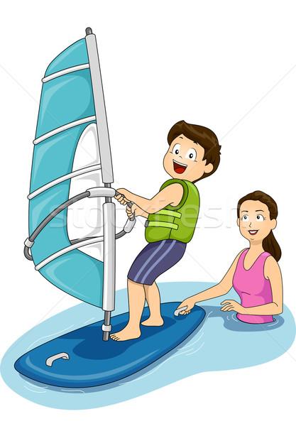 Windszörf leckék illusztráció anya család gyermek Stock fotó © lenm
