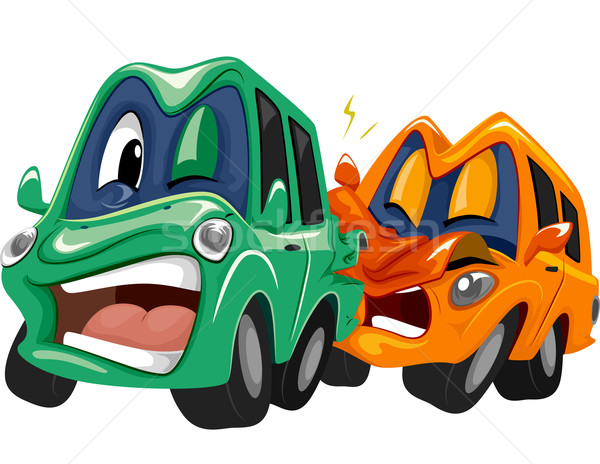 Mascotte auto crash illustratie paar auto Stockfoto © lenm
