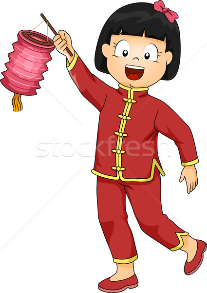 Criança menina chinês lanterna ilustração little girl Foto stock © lenm