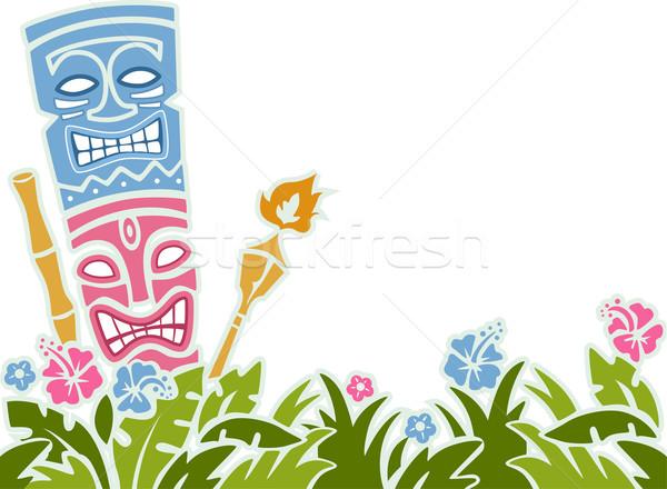 ステンシル 実例 像 カラフル 花 背景 ストックフォト © lenm