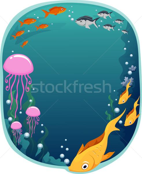 Vízalatti keret illusztráció színes jelenet tenger Stock fotó © lenm