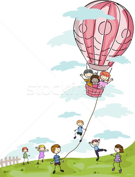 Kinderen spelen luchtballon illustratie meisje kinderen kind Stockfoto © lenm