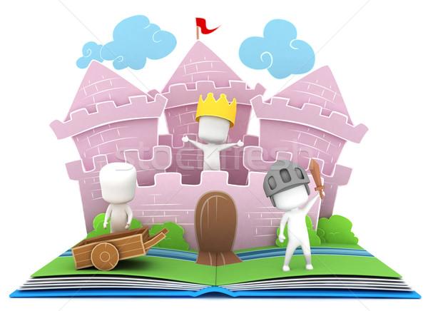 Regno storia illustrazione 3d bambini giocare castello libro Foto d'archivio © lenm