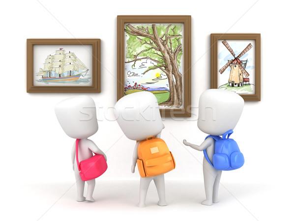 Kunst museum 3d illustration kinderen kinderen kind Stockfoto © lenm