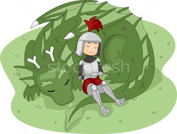 Foto stock: Caballero · dragón · ilustración · nino · nino