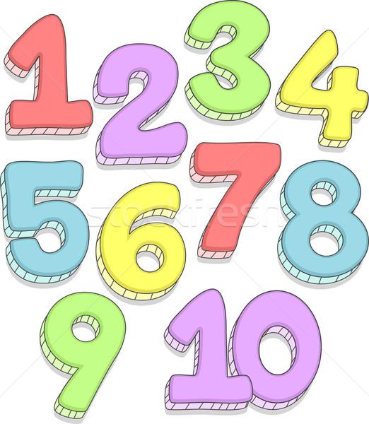 Szám firkák firka illusztráció számok iskola Stock fotó © lenm