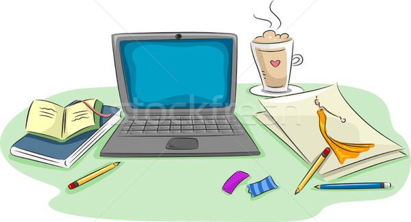 рабочая станция иллюстрация ноутбука карандашей бумаги Сток-фото © lenm