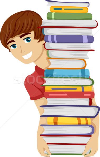 мужчины книжный червь иллюстрация парень высокий Сток-фото © lenm