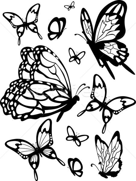 Stockfoto: Vlinder · stencil · illustratie · klaar · ontwerp · zwarte