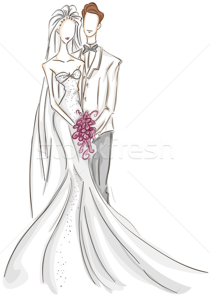 Bride and Groom Sketch Stock photo © lenm