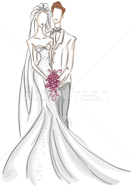 Bruid bruidegom schets bruiloft liefde Stockfoto © lenm