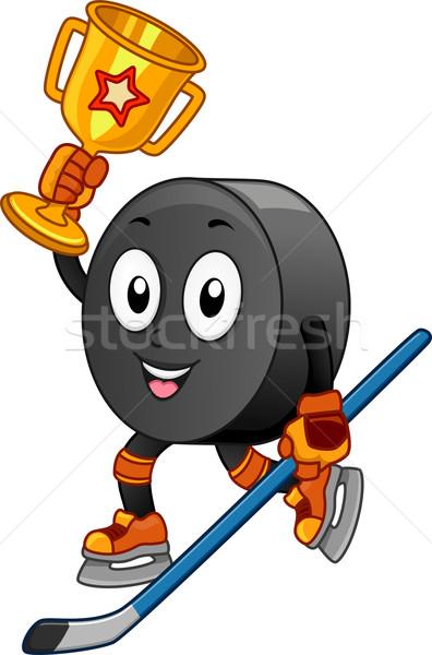 Hokej maskotka ilustracja złoty trofeum Zdjęcia stock © lenm