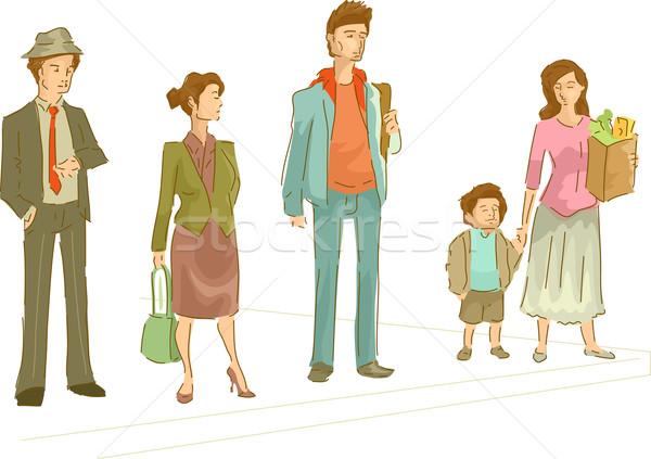 歩行者 レーン 実例 グループの人々  待って クロス ストックフォト © lenm
