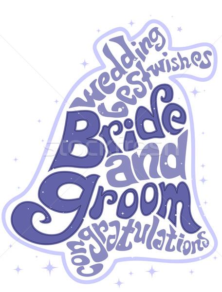 Esküvő szöveg terv illusztráció szavak forma Stock fotó © lenm