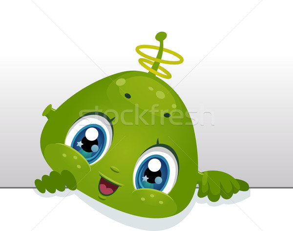 Idegen tábla illusztráció aranyos baba gyermek Stock fotó © lenm
