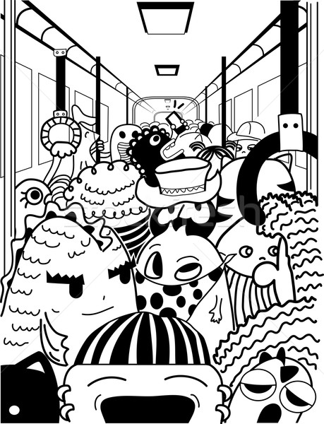 Doodle Monsters Crowded Subway Stock photo © lenm