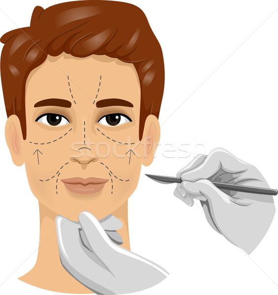 Mężczyzna chirurgii skalpel ilustracja człowiek linie Zdjęcia stock © lenm