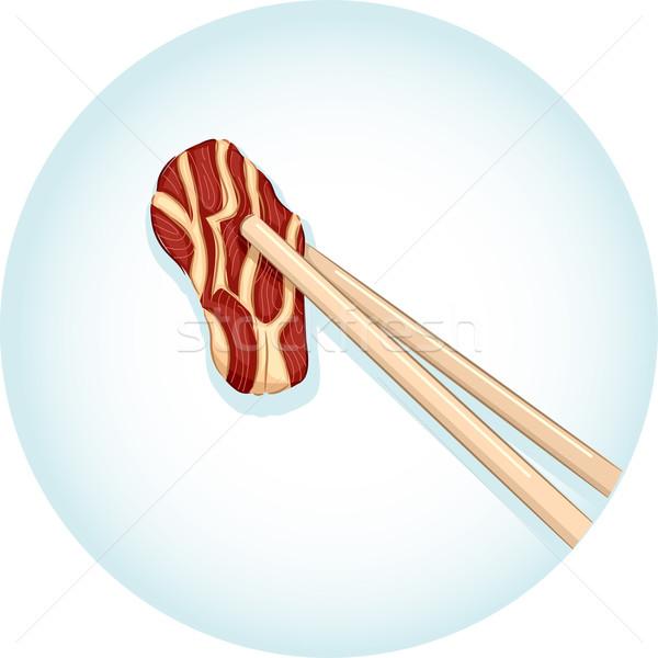 Evőpálcikák marhahús hús illusztráció pár tart Stock fotó © lenm