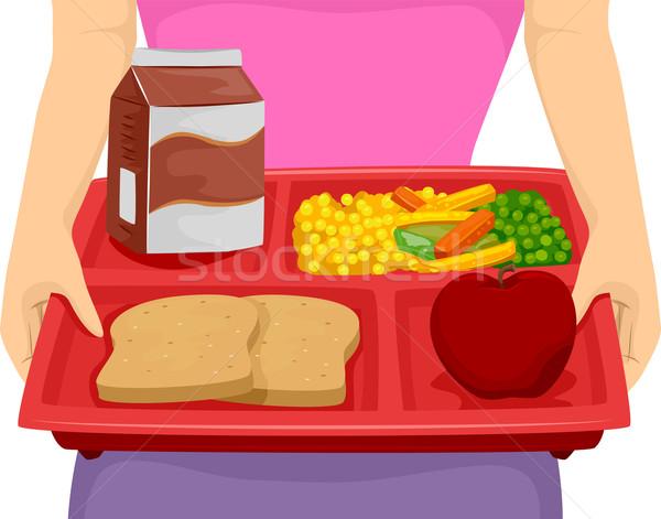 Diéta ebéd tálca illusztráció személy hordoz Stock fotó © lenm
