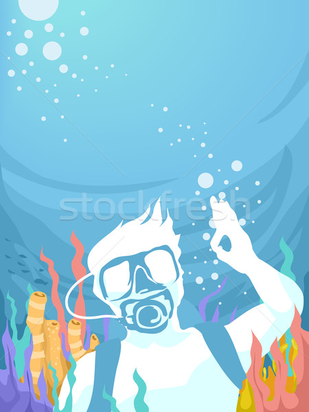 Diving Underwater Man Ok Stock photo © lenm