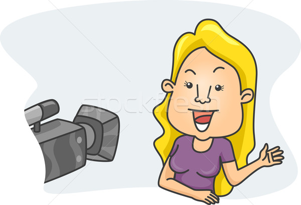Nina cámara ilustración mujer femenino Foto stock © lenm