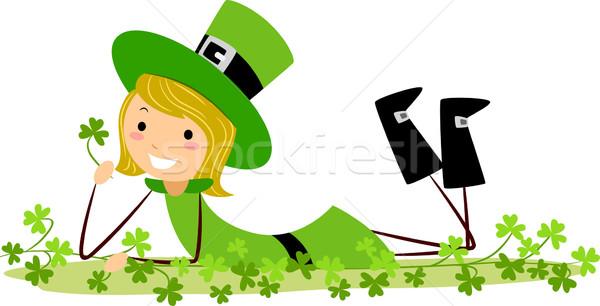 Stockfoto: Meisje · spelen · illustratie · vrouw · groene · ontspannen