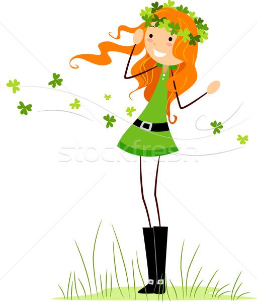 Stockfoto: Meisje · kroon · illustratie · vrouw · groene