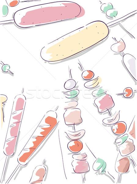Hotdog Kebab Doodle Sketch Stock photo © lenm