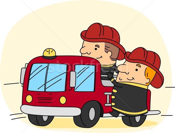 Brandweerman illustratie werk man mannelijke carriere Stockfoto © lenm
