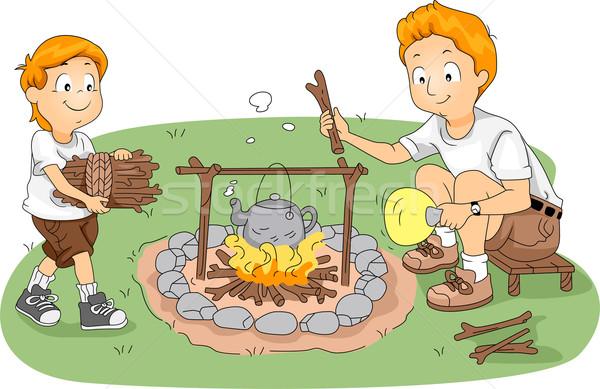 Water illustratie kind kamp jonge vader Stockfoto © lenm
