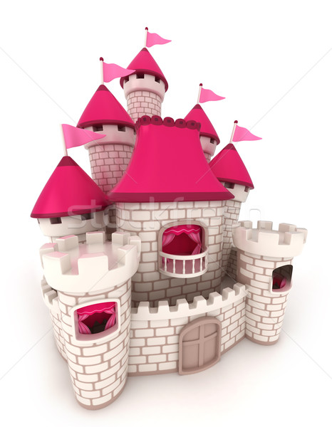 Zamek 3d ilustracji piękna cartoon flagi fantasy Zdjęcia stock © lenm