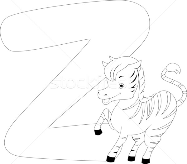 Coloring Page Zebra Stock photo © lenm