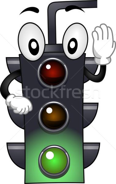 Kabala illusztráció stop fény forgalom rajz Stock fotó © lenm
