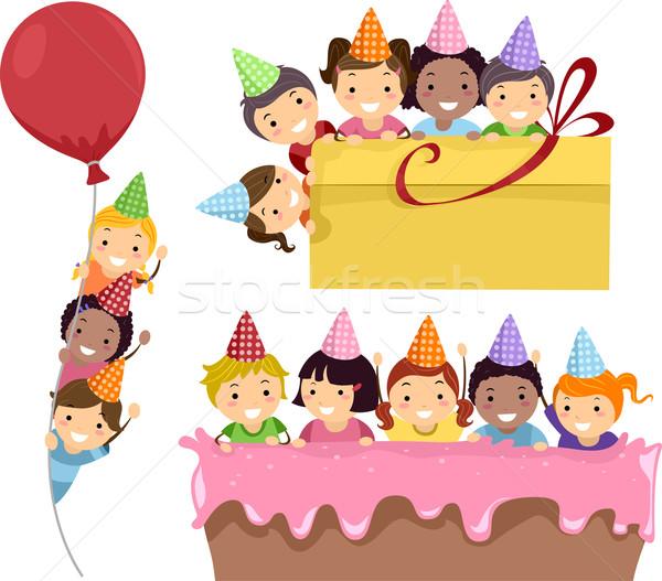 Születésnapi buli keret illusztráció gyerekek buli keretek Stock fotó © lenm