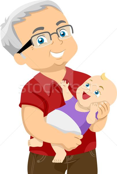 Dziadek wnuczka ilustracja starszych człowiek Zdjęcia stock © lenm