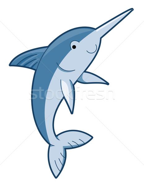 Sevimli kılıçbalığı sualtı hayvan karikatür Stok fotoğraf © lenm