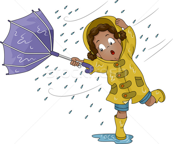 Upturned Umbrella Girl Stock photo © lenm