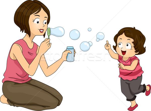 Buborékfújás illusztráció anya lánygyermek nő család Stock fotó © lenm