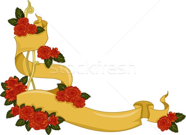 цветочный углу границе иллюстрация лента покрытый Сток-фото © lenm