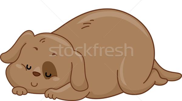 Zwaarlijvig hond illustratie slapen vet puppy Stockfoto © lenm