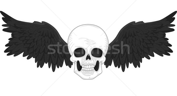 Skull with Black Wings Tattoo Stock photo © lenm