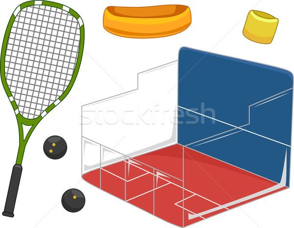 Fallabda felszerlés illusztráció használt játszik sportok Stock fotó © lenm